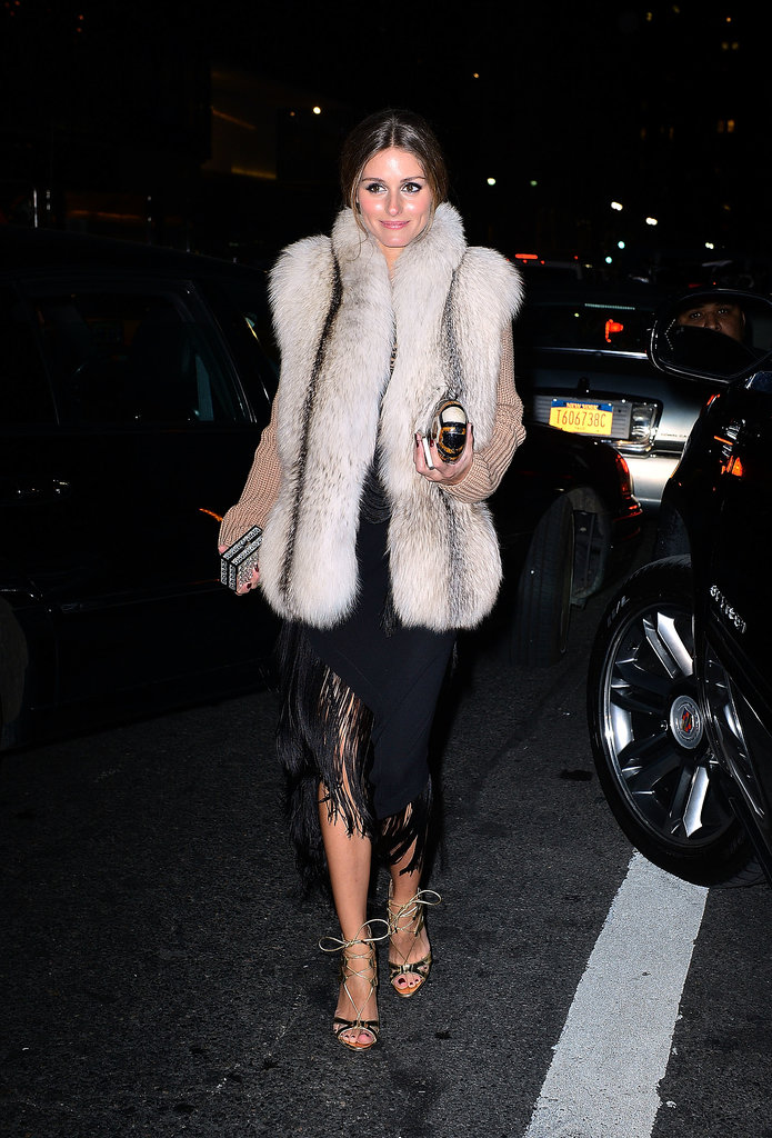 Olivia-added-furry-vest-her-evening-look-chic-Winter-ready