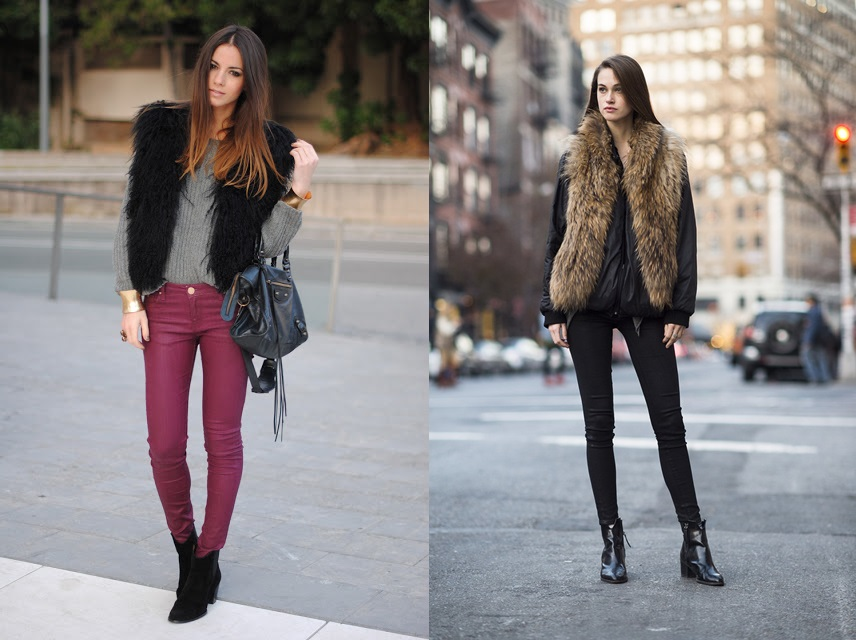furry vest, zara boots, grey sweater-horz